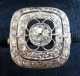 Stunning platinum art deco 1.58ct diamond cluster vintage antique ring